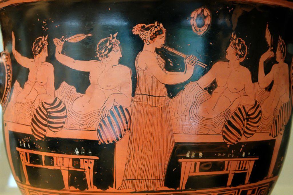 Kottabos in una scena di simposio su vaso
