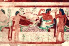 Affresco etrusco alla necropoli di Tarquinia