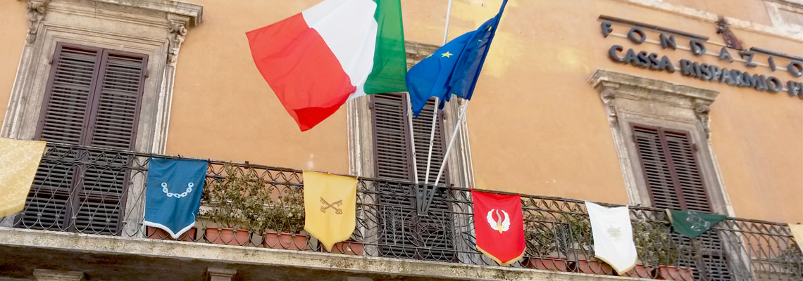 Le bandiere dei rioni di Perugia 1416